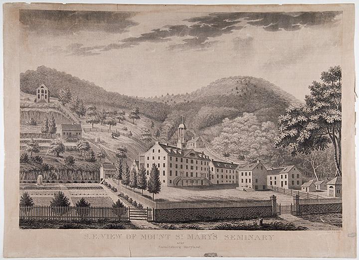 Mount St. Mary's University, Seminary building, Emmitsburg, Maryland, ca 1826, Medium Print Collection, MdHS.
