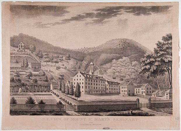 Mount St. Mary's University, Seminary building, Emmitsburg, Maryland, ca 1826, Medium Print Collection, MdHS.
