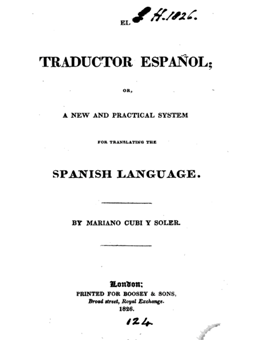 """Cover of """"Traductor español; or, a new and practical system for translating the Spanish language,"""" 1826, by Mariano Cubi y Soler."""